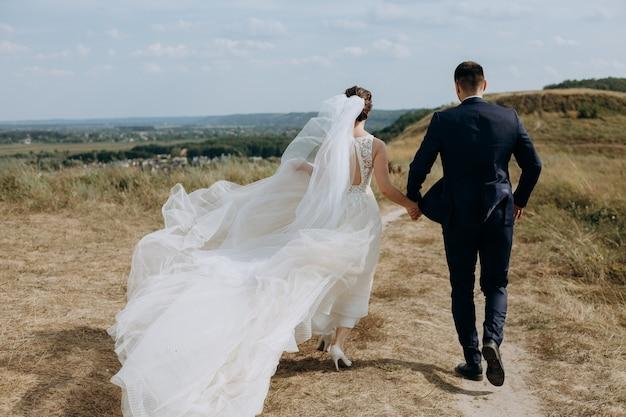Casal apaixonado, casamento, fora, campo, caminho, paisagem, céu, véu, vento, liberdade