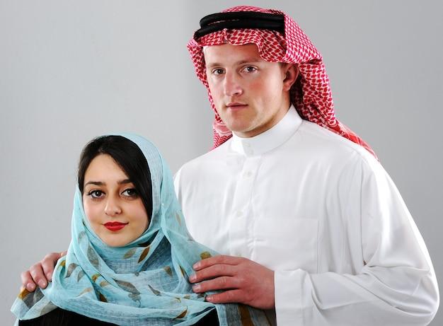 Casal árabe, esposa e marido