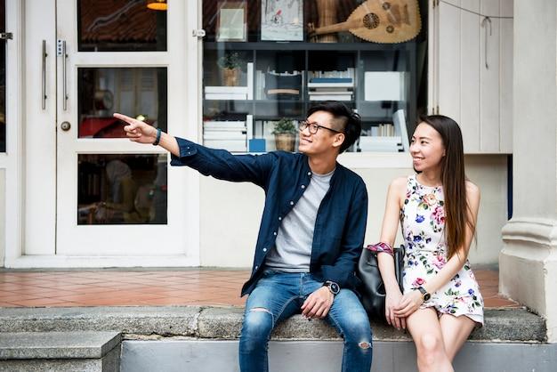 Casal asiático namoro