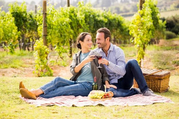 Casal brindando copo de vinho no gramado