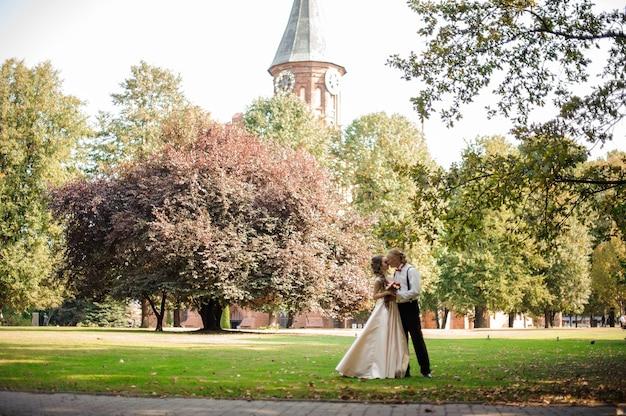 Casal casado em pé em um campo de grama verde com árvores e a velha catedral no fundo num dia de verão