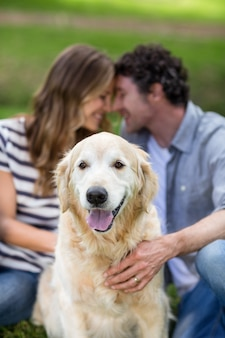 Casal com seu cachorro no parque