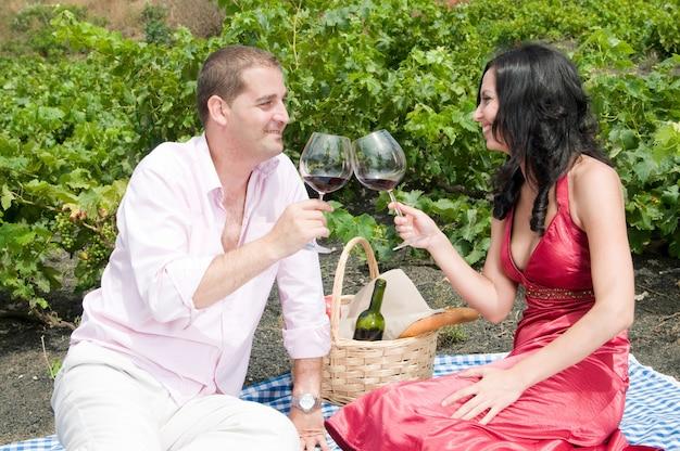 Casal comemorando um piquenique no meio de um vinhedo