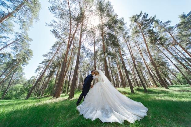 Casal de casamento emocional no parque verde na primavera. retrato da noiva e do noivo em dia de sol ao ar livre. noiva e noivo abraçando e sorrindo para o dia do casamento na natureza.