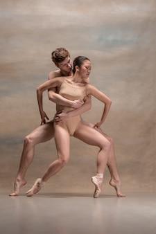 Casal de dançarinos de balé posando sobre cinza.