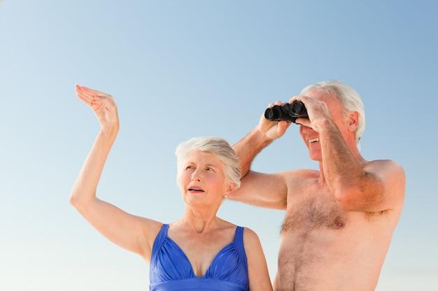 Casal de idosos assistindo pássaros na praia