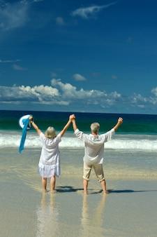 Casal de idosos em pé na praia de frente para o mar