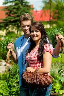 Casal de jardinagem posando com os legumes colhidos
