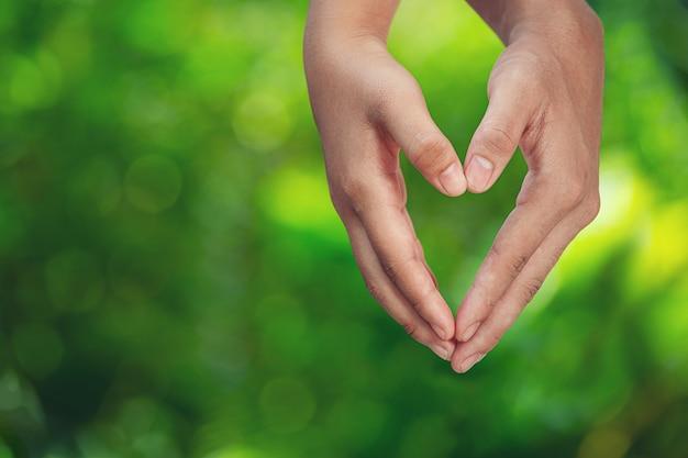 Casal de mãos dadas no prado verde.