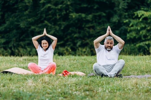 Casal de meia idade fazendo ioga juntos ao ar livre, fazendo gesto namastê sob eles cabeças.