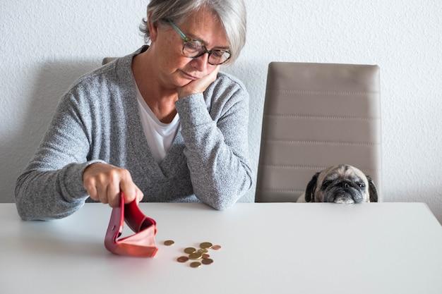 Casal de mulher madura e pequena pug contando dinheiro e quantos ela está ganhando este mês - problema econômico