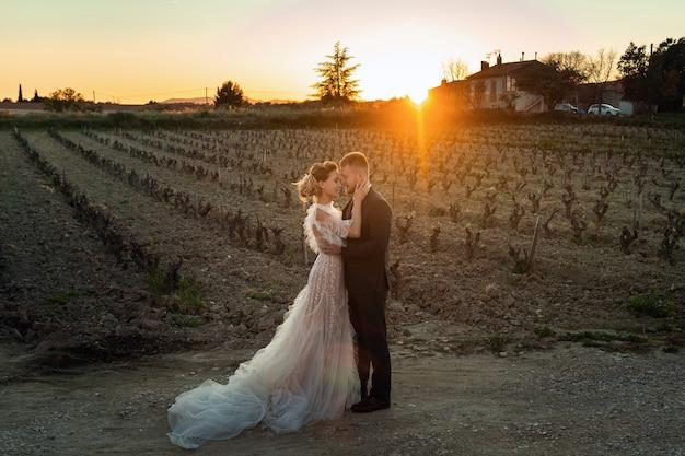 Casal de noivos ao pôr do sol na provença.