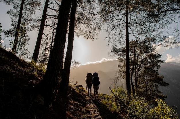 Casal de turistas, caminhadas na floresta no desfiladeiro de goynuk