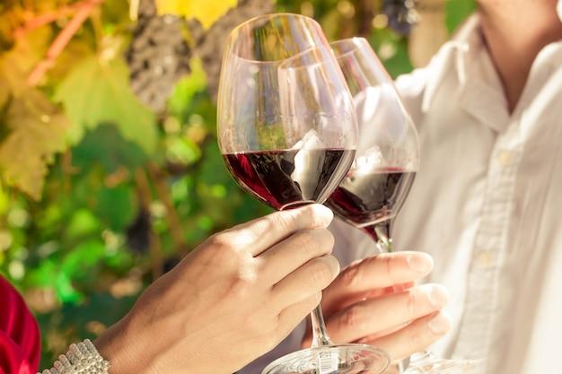 Casal de viticultor tilintar de copos de vinho em vinhedo
