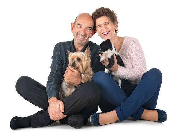 Casal e cachorros