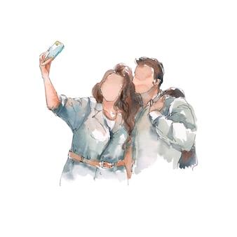 Casal feliz e tamanho tirando uma selfie juntos