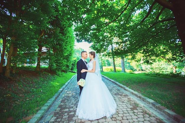 Casal jovem bonito feliz casamento no parque, ao ar livre. família nova.