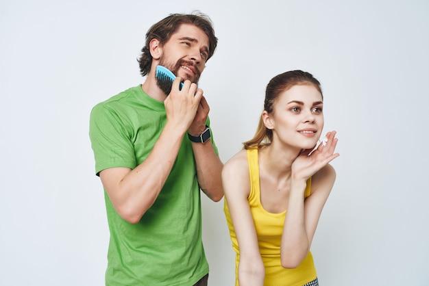Casal jovem cuidar de si mesmo estilo de vida matinal