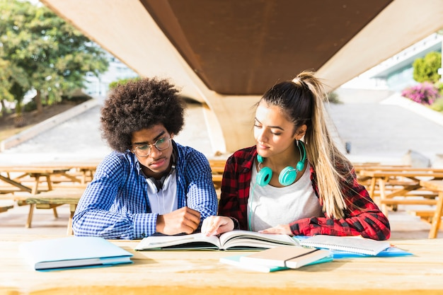 Casal jovem diverso estudando juntos no campus da universidade