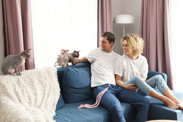 Casal jovem e feliz brincando com seus gatos em casa