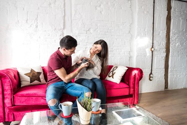 Casal jovem feliz relaxado em casa com um coelho de estimação