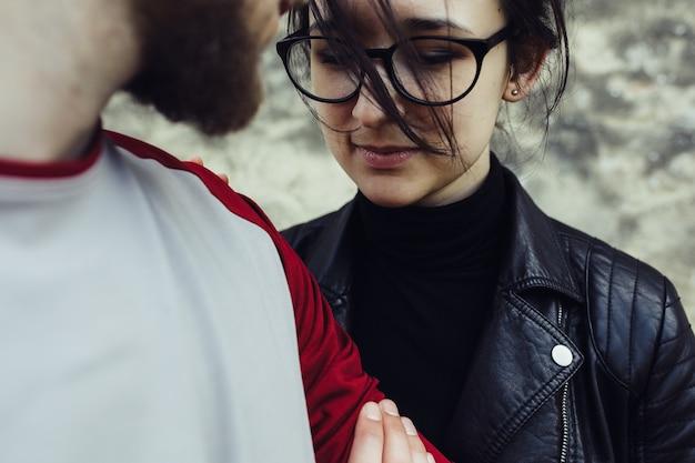 Casal junto, close, conceito de relacionamento