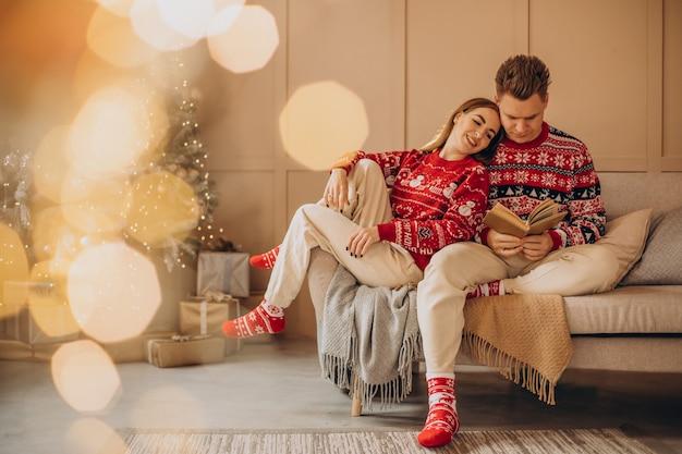 Casal lendo livro perto da árvore de natal