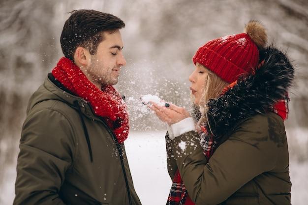 Casal no dia dos namorados em um parque de inverno