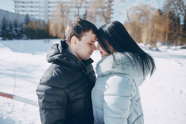 Casal no inverno