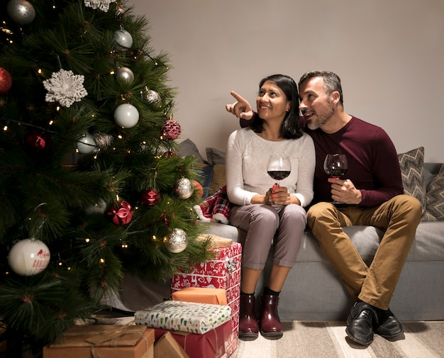 Casal sênior analisando a árvore de natal