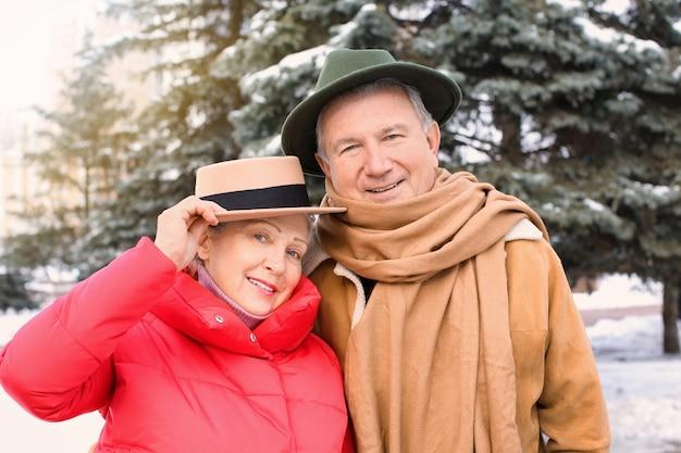Casal sênior em roupas quentes ao ar livre. férias de inverno