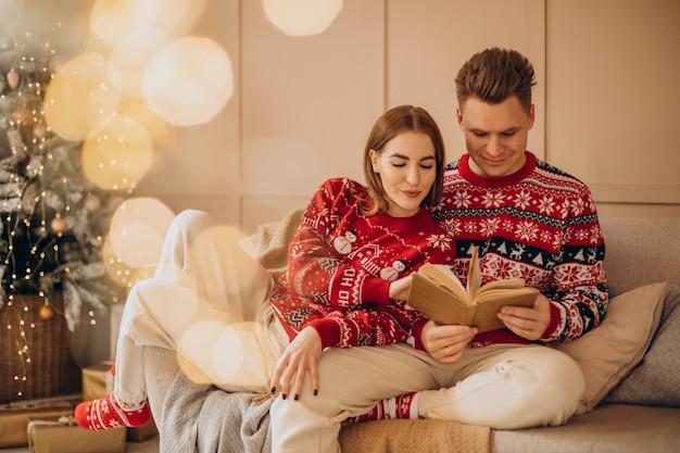 Casal sentado perto da árvore de natal lendo um livro