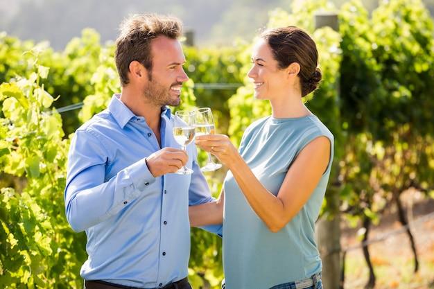 Casal sorridente, brindando o copo de vinho na vinha