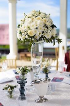 Casamento, decoração, com, flores