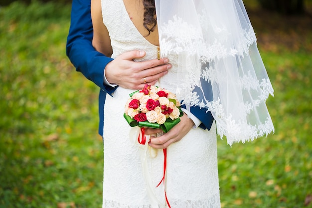 Casamento feliz dos noivos