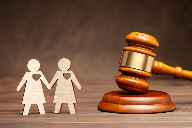Casamento gay ilegal duas lésbicas no fundo do juiz