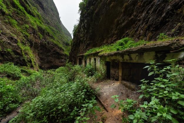 Casas abandonadas na floresta tropical badajoz canyon barranco de badajoz tenerife