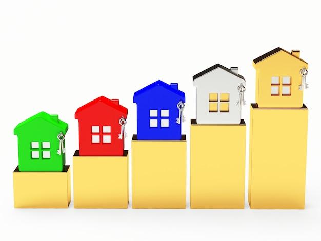 Casas coloridas no gráfico dourado