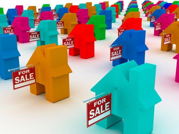 Casas coloridas para venda, renderização em 3d