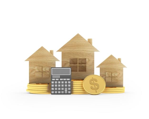 Casas de madeira em moedas de dólar e calculadora