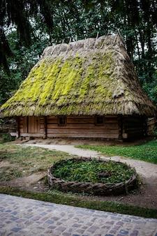 Casas de madeira ucranianas autênticas com telhado de palha
