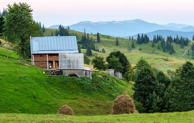 Casas de vila nas colinas com prados verdes em dia de verão. casa dos pastores nas montanhas nos cárpatos
