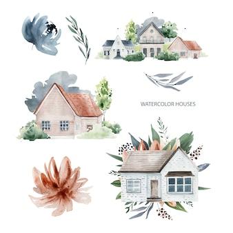 Casas e flores em aquarela