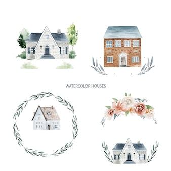 Casas em aquarela