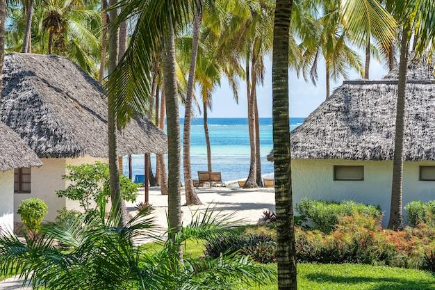 Casas tropicais e coqueiros em uma praia de areia perto do mar em um dia ensolarado na ilha de zanzibar, tanzânia, áfrica oriental