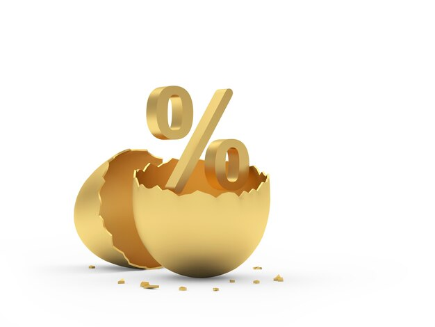 Casca de ovo dourada quebrada com sinal de porcentagem na ilustração 3d branca