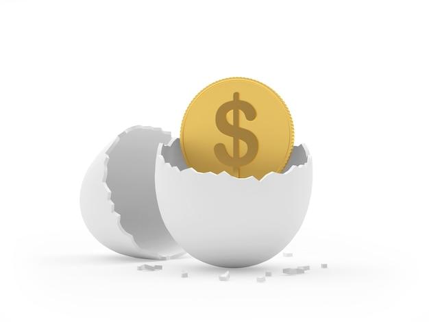 Casca de ovo quebrada com uma moeda de um dólar dentro