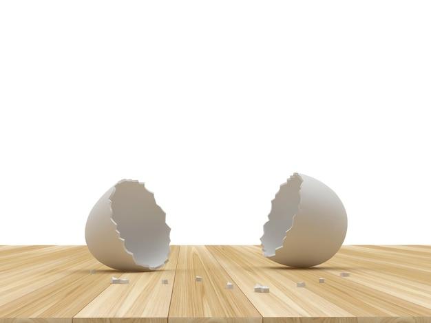 Casca de ovo quebrada vazia em uma madeira