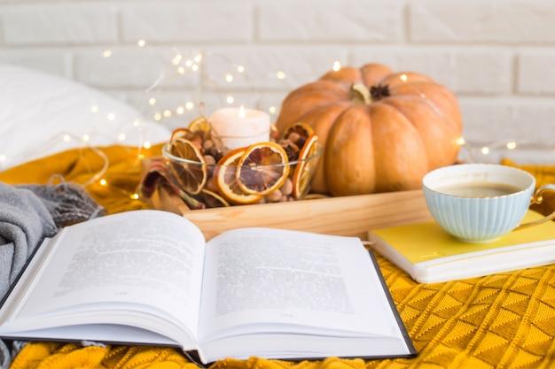 Caseira aconchegante descanso em um dia de folga de outono - lendo entre cobertores