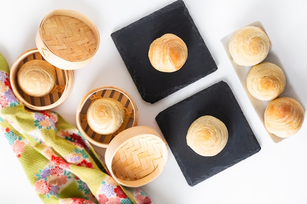 Caseira orgânica huaiyang espiral bolo de lua pastelaria escamosa chinesa